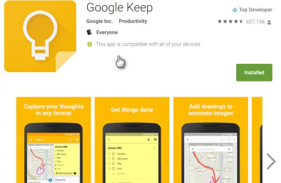 Google Keep download page shot