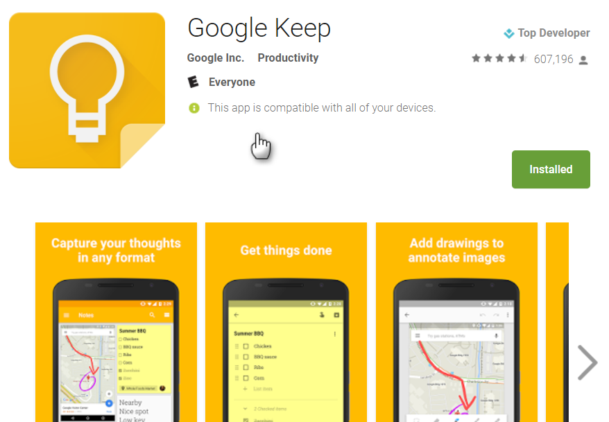 Google Keep download page shot